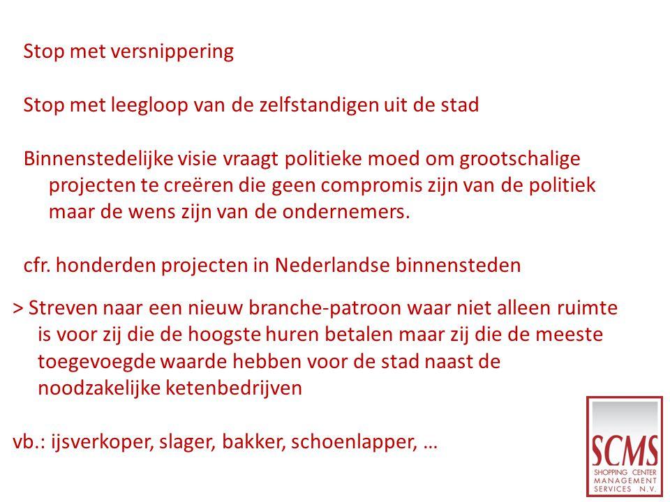Stop met versnippering Stop met leegloop van de zelfstandigen uit de stad Binnenstedelijke visie vraagt politieke moed om grootschalige projecten te c