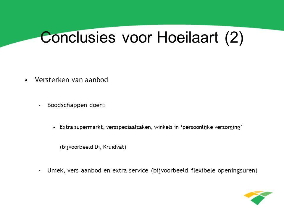 Conclusies voor Hoeilaart (2) Versterken van aanbod –Boodschappen doen: Extra supermarkt, versspeciaalzaken, winkels in 'persoonlijke verzorging' (bij
