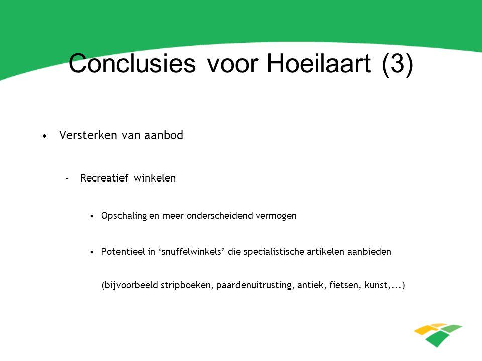 Conclusies voor Hoeilaart (4) Versterken van aanbod –Overige voorzieningen Horeca-aanbod versterken met extra zaken met (boven)regionale uitstraling Ontwikkelen van verblijfsmogelijkheden: B&B, hotel, jeugdherberg,...