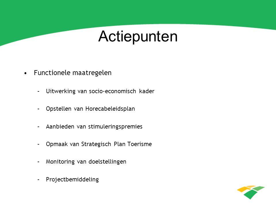 Actiepunten Functionele maatregelen –Uitwerking van socio-economisch kader –Opstellen van Horecabeleidsplan –Aanbieden van stimuleringspremies –Opmaak