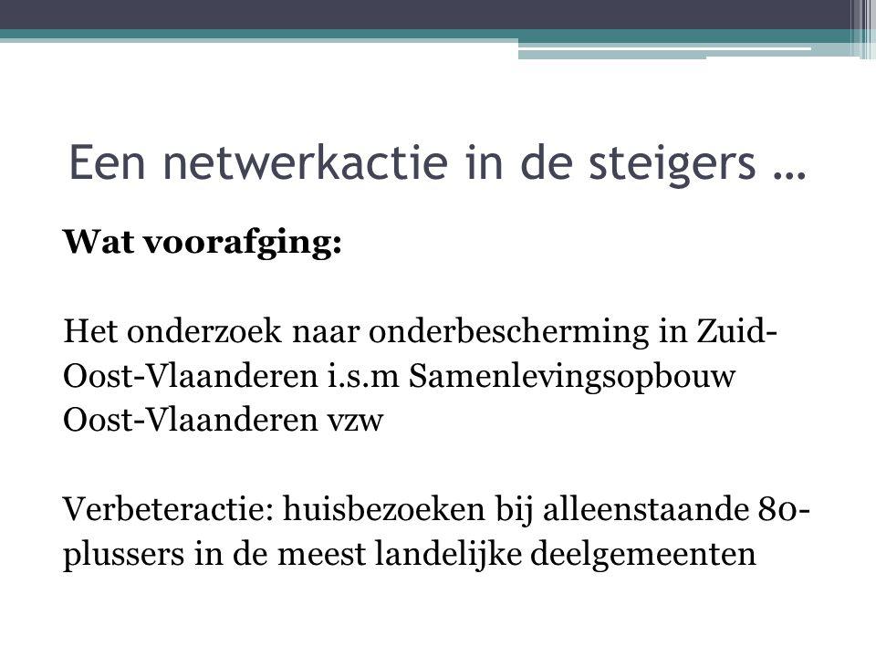 Een netwerkactie in de steigers … Wat voorafging: Het onderzoek naar onderbescherming in Zuid- Oost-Vlaanderen i.s.m Samenlevingsopbouw Oost-Vlaandere