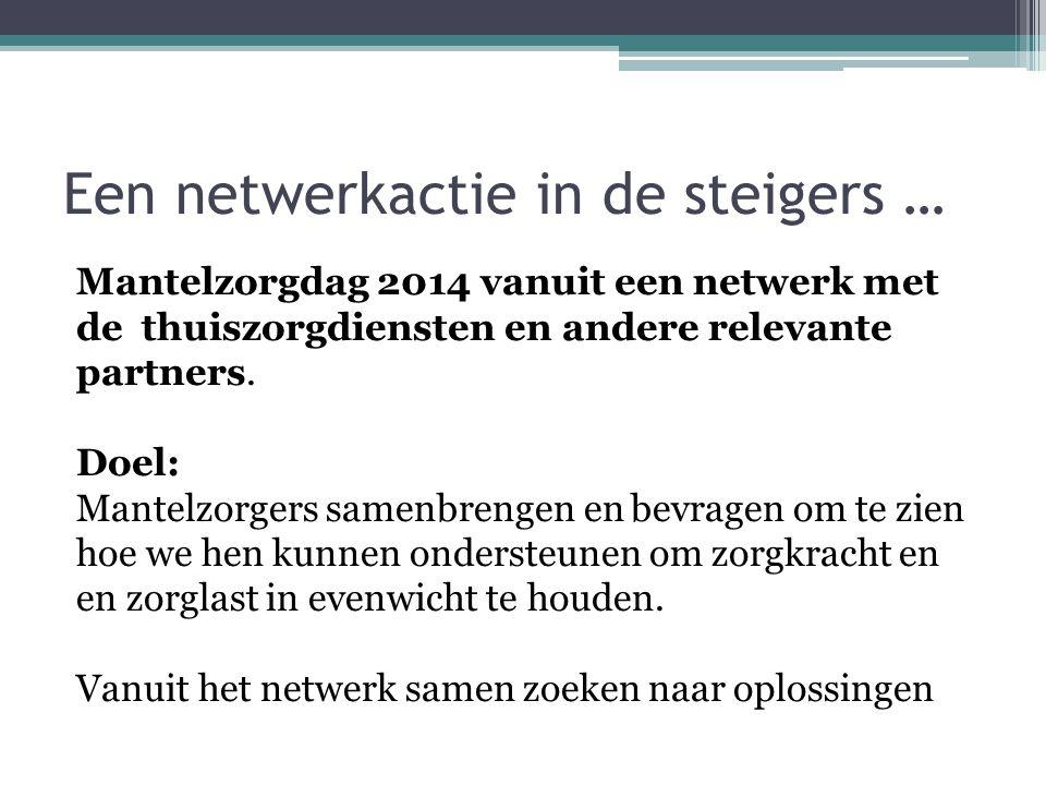 Een netwerkactie in de steigers … Mantelzorgdag 2014 vanuit een netwerk met de thuiszorgdiensten en andere relevante partners. Doel: Mantelzorgers sam
