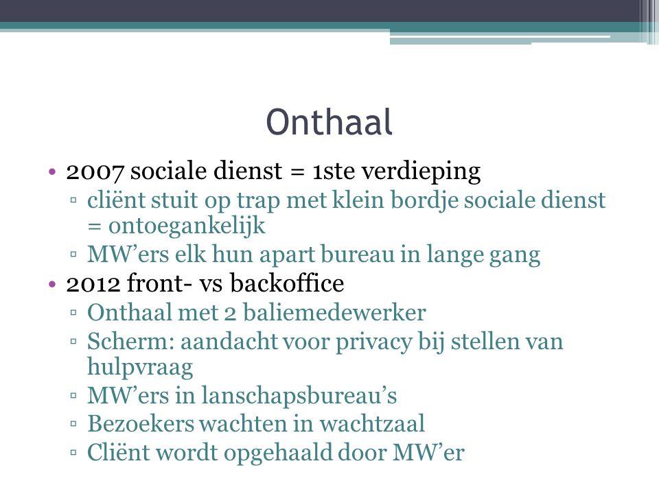 2007 sociale dienst = 1ste verdieping ▫cliënt stuit op trap met klein bordje sociale dienst = ontoegankelijk ▫MW'ers elk hun apart bureau in lange gan