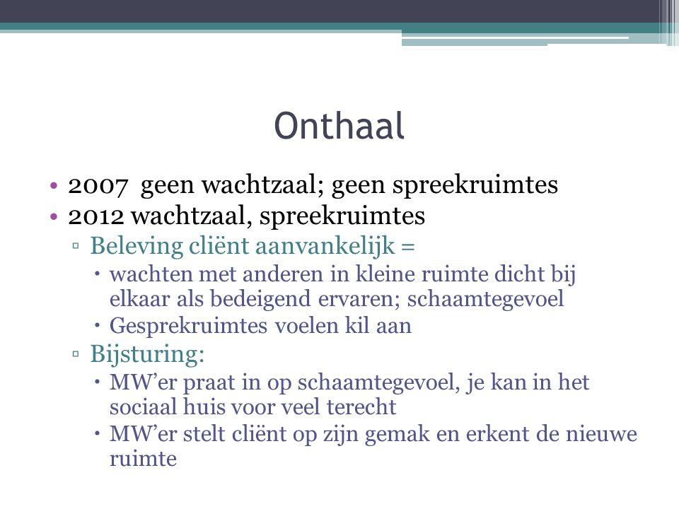 Onthaal 2007 geen wachtzaal; geen spreekruimtes 2012 wachtzaal, spreekruimtes ▫Beleving cliënt aanvankelijk =  wachten met anderen in kleine ruimte d