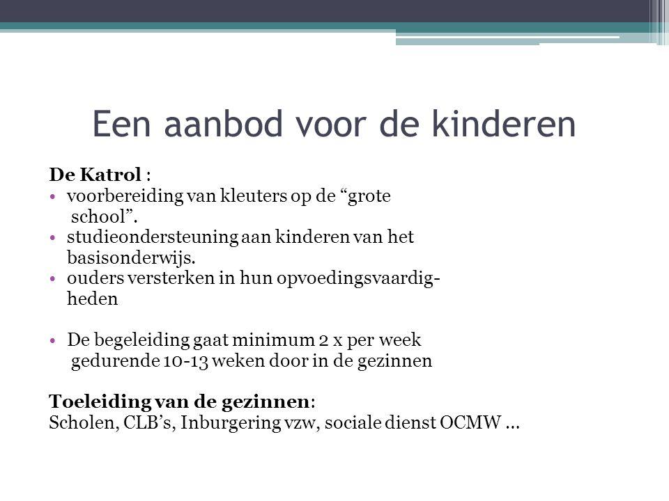 """Een aanbod voor de kinderen De Katrol : voorbereiding van kleuters op de """"grote school"""". studieondersteuning aan kinderen van het basisonderwijs. oude"""