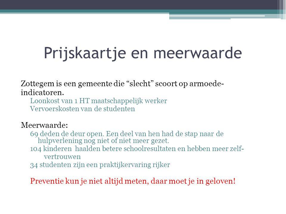 """Prijskaartje en meerwaarde Zottegem is een gemeente die """"slecht"""" scoort op armoede- indicatoren. Loonkost van 1 HT maatschappelijk werker Vervoerskost"""