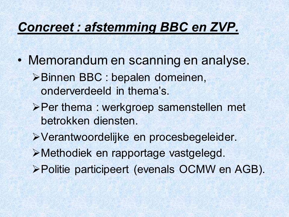 Concreet : afstemming BBC en ZVP. Memorandum en scanning en analyse.  Binnen BBC : bepalen domeinen, onderverdeeld in thema's.  Per thema : werkgroe