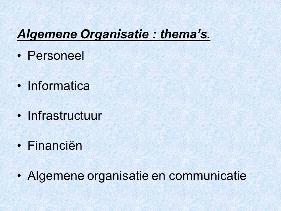 Algemene Organisatie : thema's. Personeel Informatica Infrastructuur Financiën Algemene organisatie en communicatie