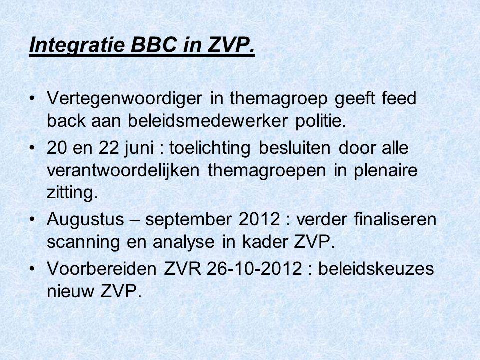 Integratie BBC in ZVP. Vertegenwoordiger in themagroep geeft feed back aan beleidsmedewerker politie. 20 en 22 juni : toelichting besluiten door alle