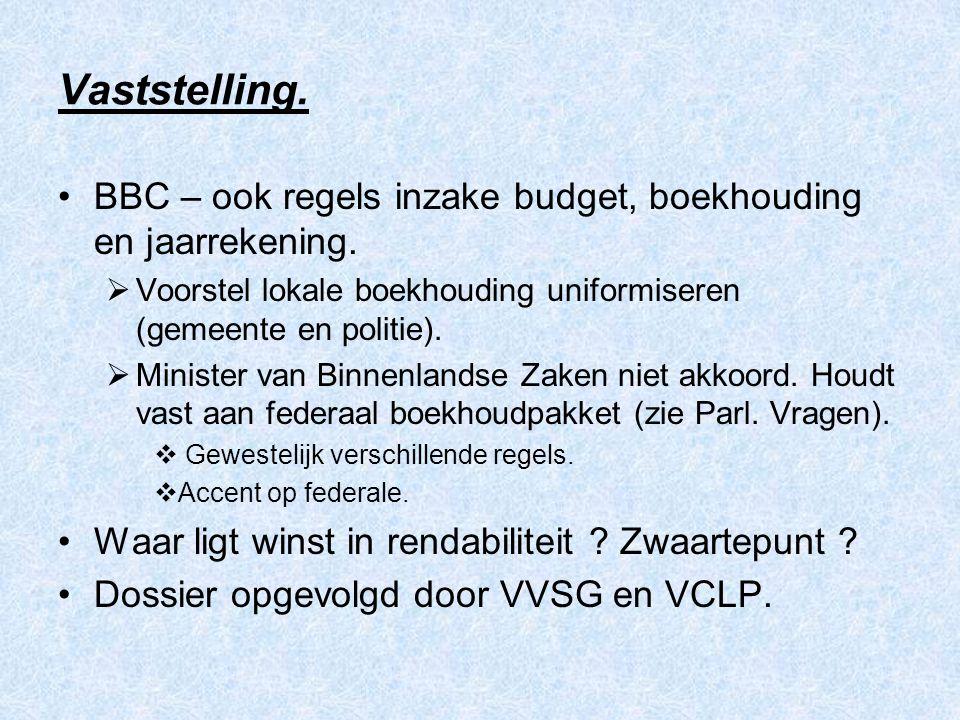 Vaststelling. BBC – ook regels inzake budget, boekhouding en jaarrekening.  Voorstel lokale boekhouding uniformiseren (gemeente en politie).  Minist