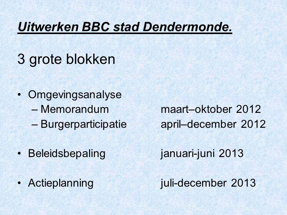 Uitwerken BBC stad Dendermonde. 3 grote blokken Omgevingsanalyse –Memorandummaart–oktober 2012 –Burgerparticipatieapril–december 2012 Beleidsbepalingj
