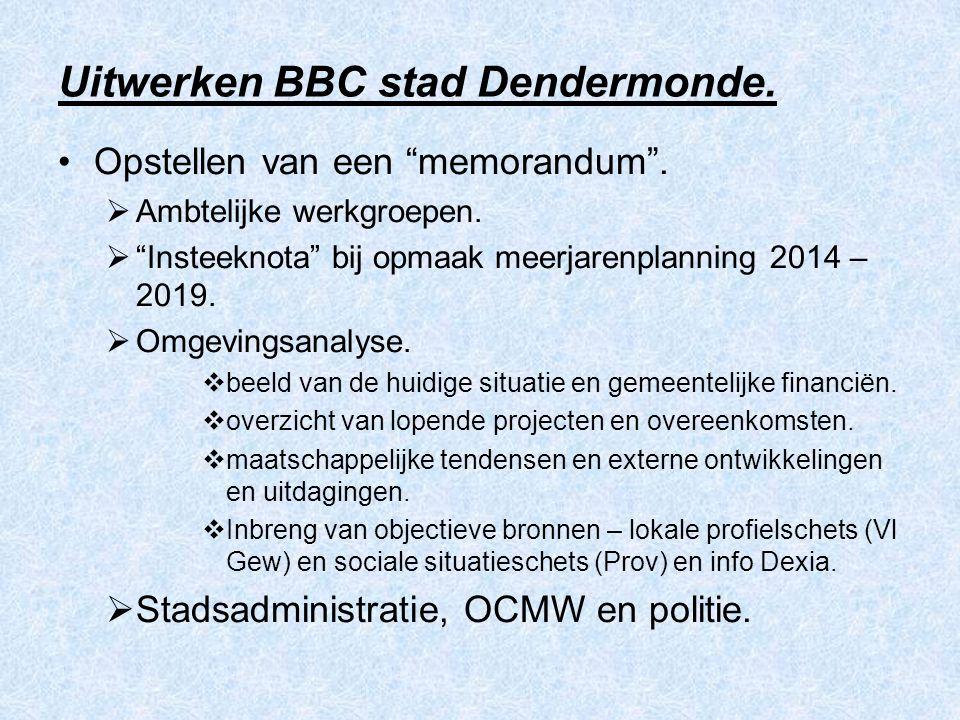 """Uitwerken BBC stad Dendermonde. Opstellen van een """"memorandum"""".  Ambtelijke werkgroepen.  """"Insteeknota"""" bij opmaak meerjarenplanning 2014 – 2019. """