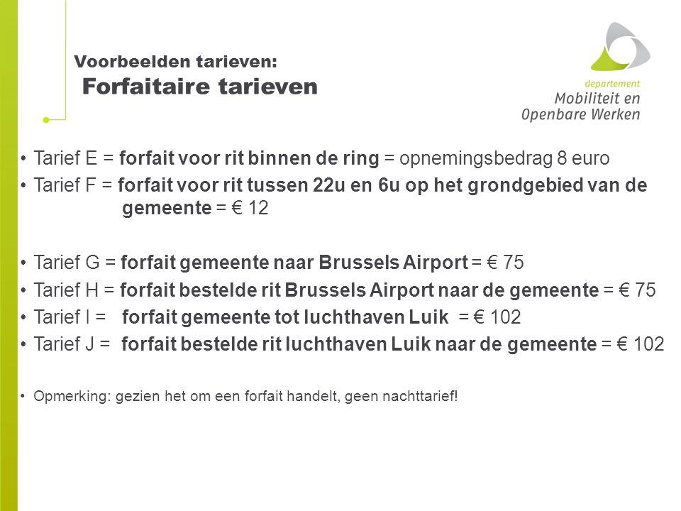 Voorbeelden tarieven: Forfaitaire tarieven Tarief E = forfait voor rit binnen de ring = opnemingsbedrag 8 euro Tarief F = forfait voor rit tussen 22u