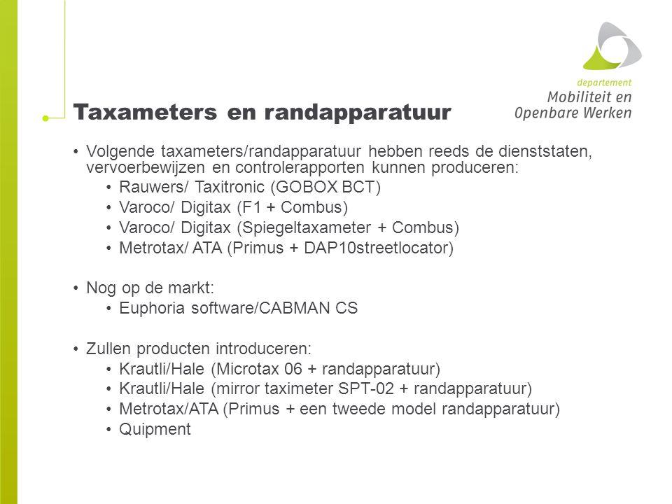 Taxameters en randapparatuur Volgende taxameters/randapparatuur hebben reeds de dienststaten, vervoerbewijzen en controlerapporten kunnen produceren: