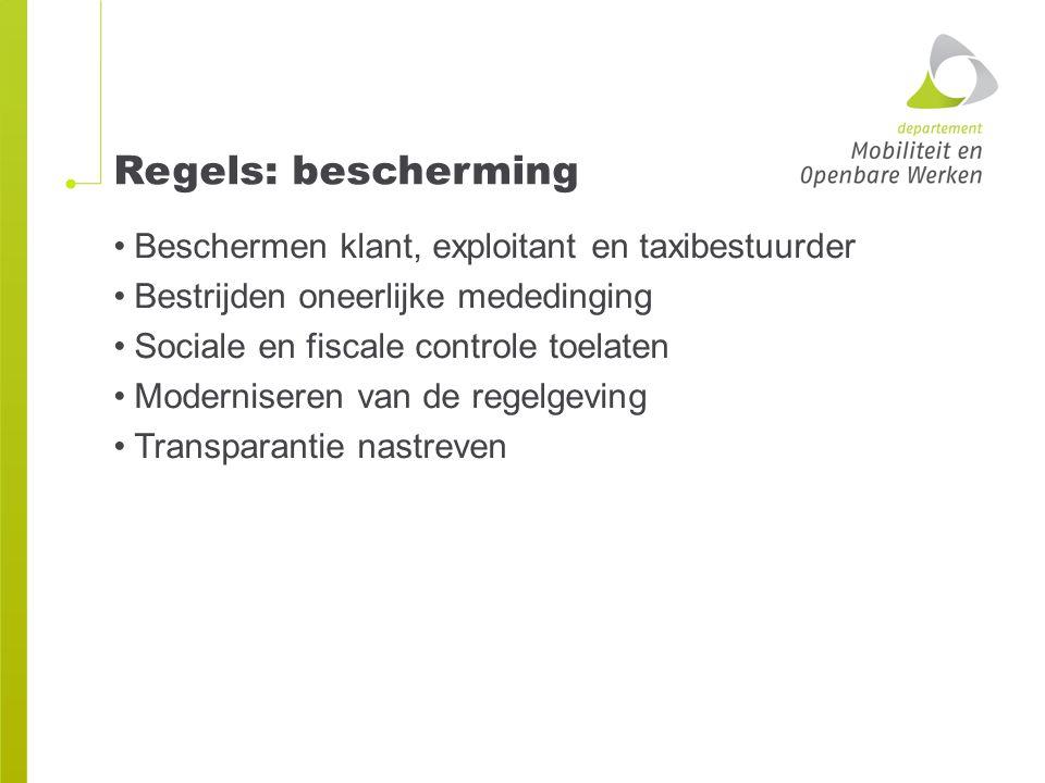 Wetgeving Decreet van 20 april 2001 betreffende de organisatie van het personenvervoer over de weg Besluit van de Vlaamse Regering van 18 juli 2003 betreffende de taxidiensten en diensten voor het verhuren van voertuigen met bestuurder -> vindplaats geconsolideerde teksten: www.codex.vlaanderen.be of www.just.fgov.be -> Belgische wetgeving (niet BS) www.codex.vlaanderen.bewww.just.fgov.be