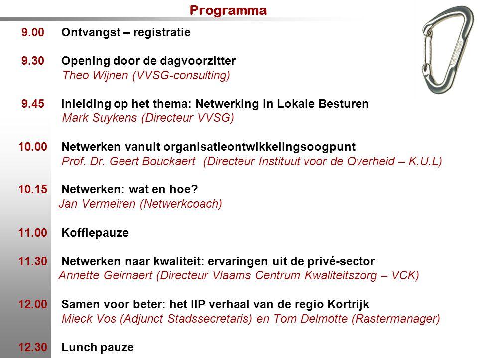Programma 9.00 Ontvangst – registratie 9.30 Opening door de dagvoorzitter Theo Wijnen (VVSG-consulting) 9.45 Inleiding op het thema: Netwerking in Lok