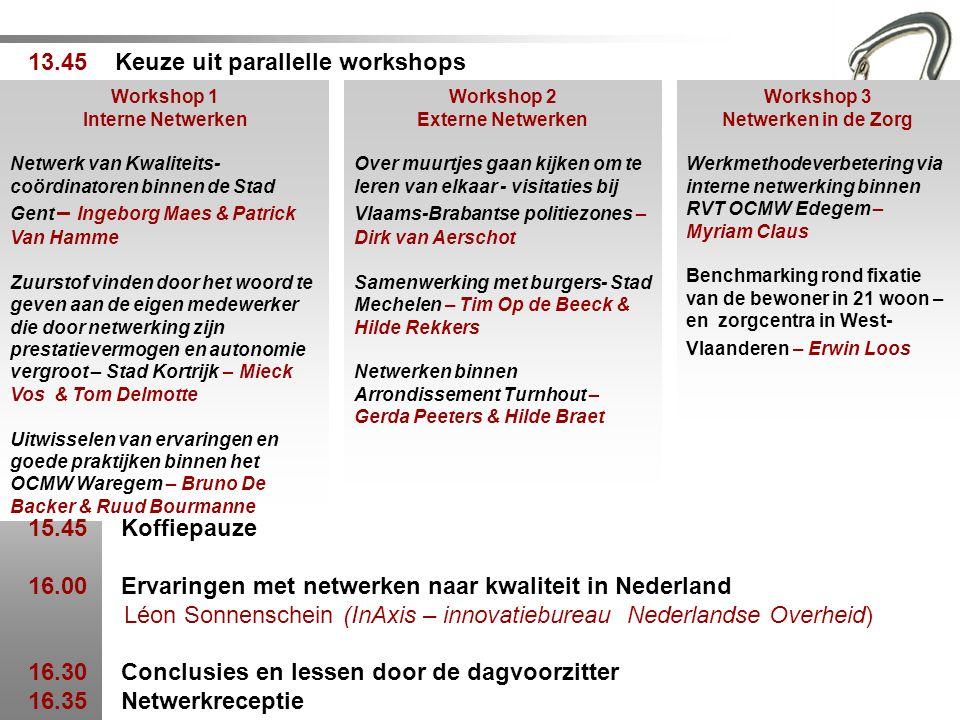 Workshop 1 Interne Netwerken Netwerk van Kwaliteits- coördinatoren binnen de Stad Gent – Ingeborg Maes & Patrick Van Hamme Zuurstof vinden door het wo