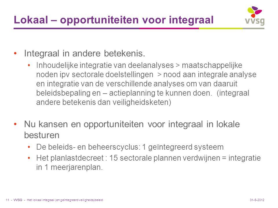 VVSG - Lokaal – opportuniteiten voor integraal Integraal in andere betekenis. Inhoudelijke integratie van deelanalyses > maatschappelijke noden ipv se