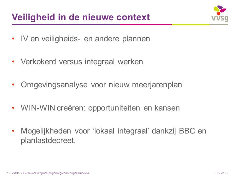 VVSG - Veiligheid in de nieuwe context IV en veiligheids- en andere plannen Verkokerd versus integraal werken Omgevingsanalyse voor nieuw meerjarenpla