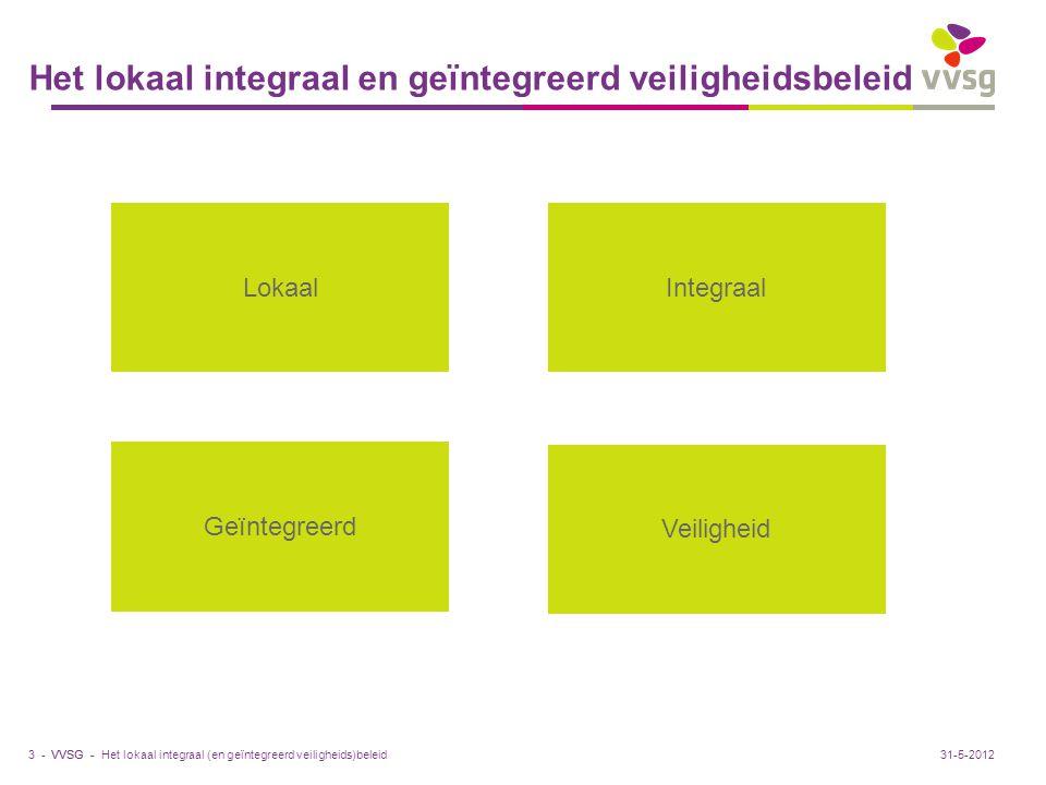 VVSG - Het lokaal integraal en geïntegreerd veiligheidsbeleid 3 -31-5-2012 LokaalIntegraal Geïntegreerd Veiligheid Het lokaal integraal (en geïntegree