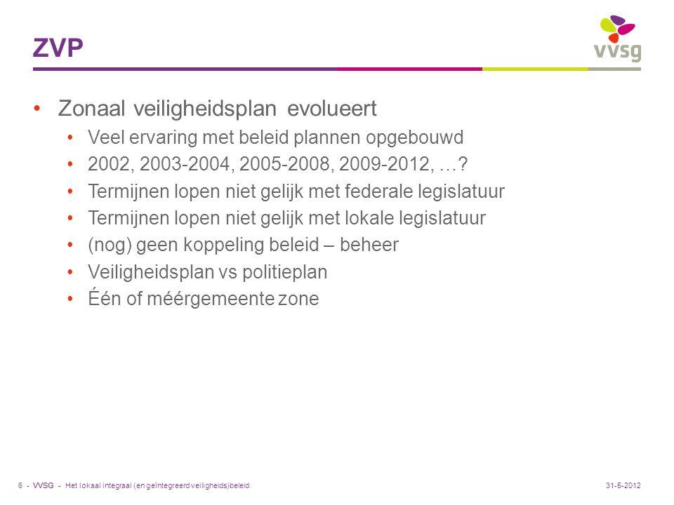VVSG - ZVP Zonaal veiligheidsplan evolueert Veel ervaring met beleid plannen opgebouwd 2002, 2003-2004, 2005-2008, 2009-2012, …? Termijnen lopen niet