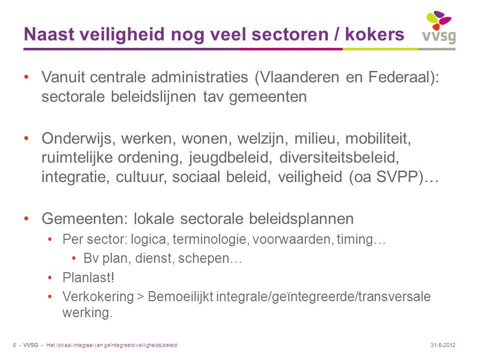 VVSG - Naast veiligheid nog veel sectoren / kokers Vanuit centrale administraties (Vlaanderen en Federaal): sectorale beleidslijnen tav gemeenten Onde