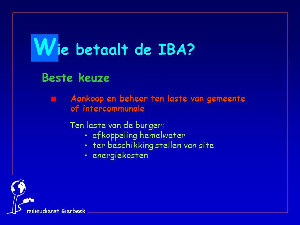 Aankoop en beheer ten laste van gemeente of intercommunale Aankoop en beheer ten laste van gemeente of intercommunale Ten laste van de burger: afkoppeling hemelwater ter beschikking stellen van site energiekosten W ie betaalt de IBA.