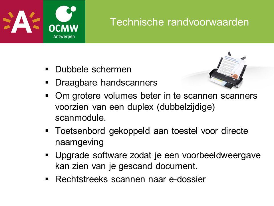 Technische randvoorwaarden  Dubbele schermen  Draagbare handscanners  Om grotere volumes beter in te scannen scanners voorzien van een duplex (dubb