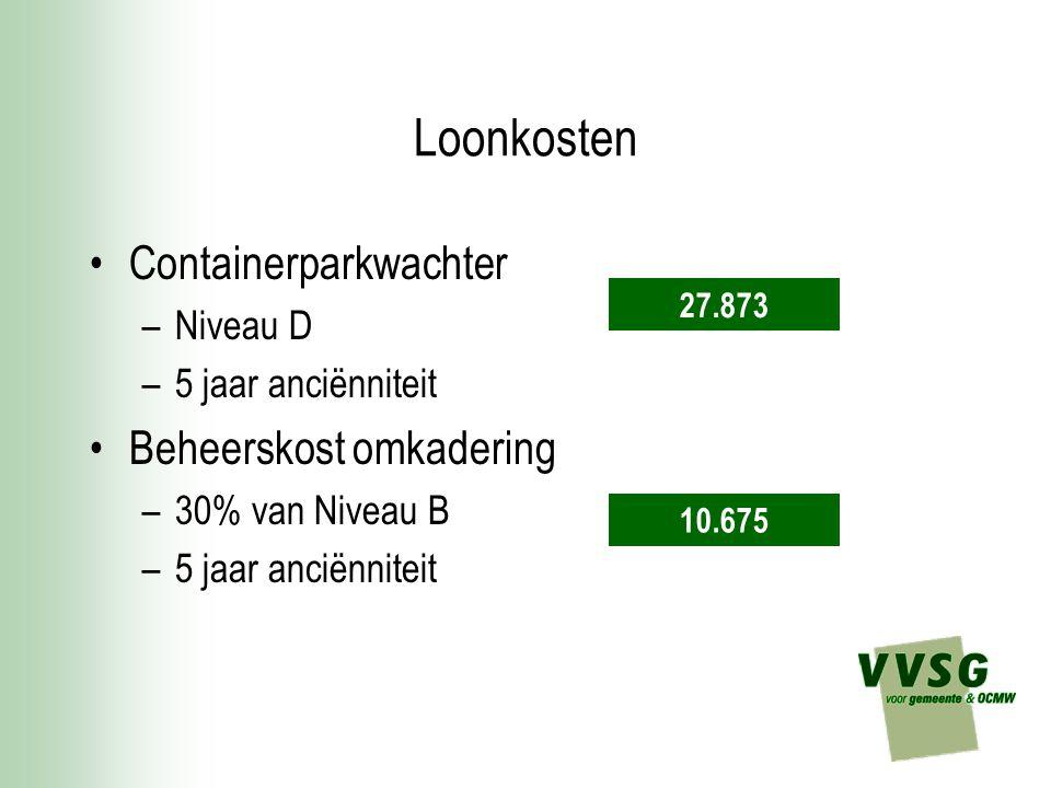 Loonkosten Containerparkwachter –Niveau D –5 jaar anciënniteit Beheerskost omkadering –30% van Niveau B –5 jaar anciënniteit 27.873 10.675