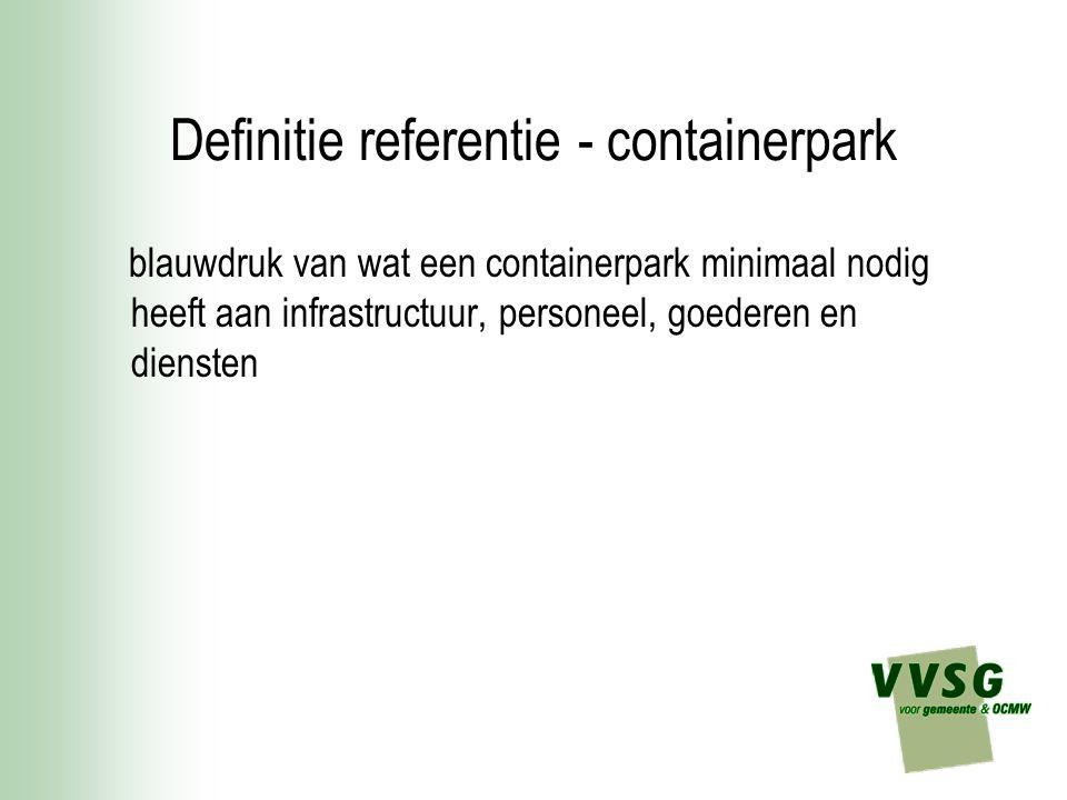 Definitie referentie - containerpark blauwdruk van wat een containerpark minimaal nodig heeft aan infrastructuur, personeel, goederen en diensten