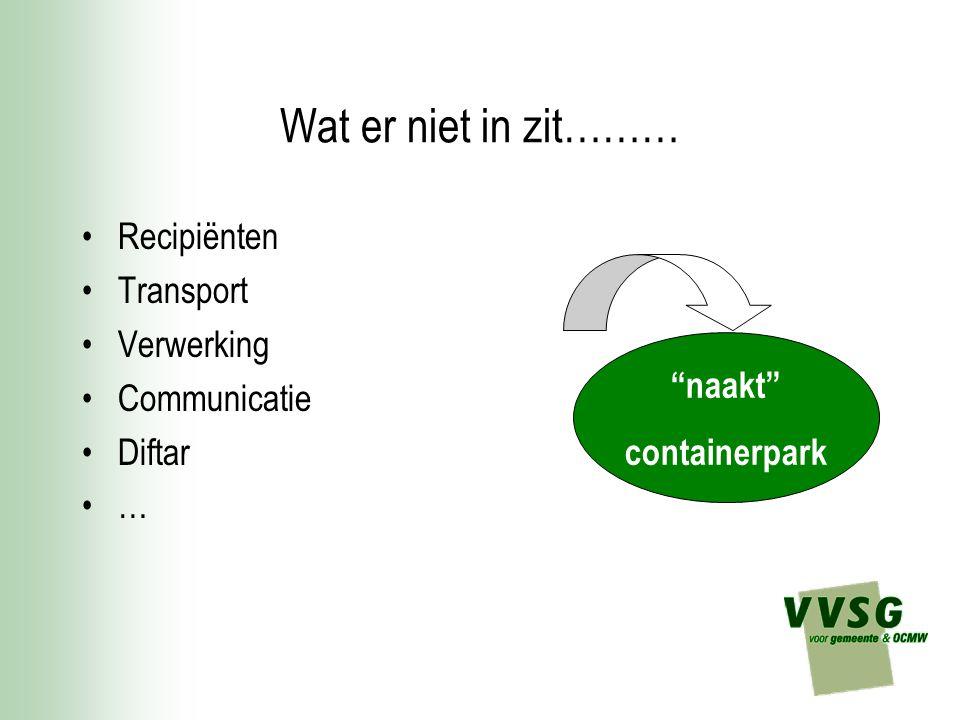 """Wat er niet in zit……… Recipiënten Transport Verwerking Communicatie Diftar … """"naakt"""" containerpark"""