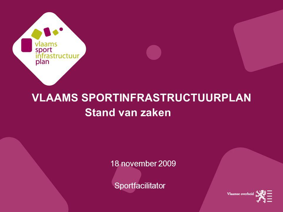 VLAAMS SPORTINFRASTRUCTUURPLAN Stand van zaken 18 november 2009 Sportfacilitator