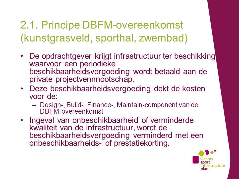 2.1. Principe DBFM-overeenkomst (kunstgrasveld, sporthal, zwembad) De opdrachtgever krijgt infrastructuur ter beschikking waarvoor een periodieke besc