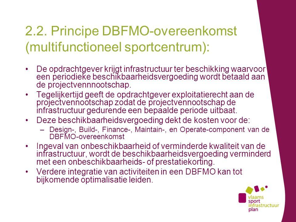 2.2. Principe DBFMO-overeenkomst (multifunctioneel sportcentrum): De opdrachtgever krijgt infrastructuur ter beschikking waarvoor een periodieke besch