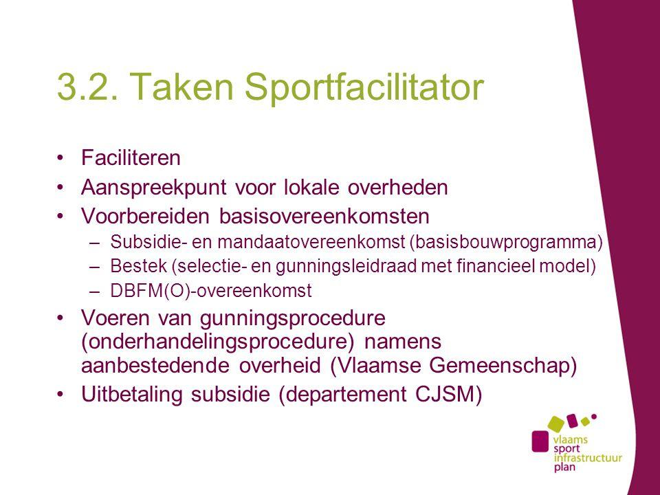 3.2. Taken Sportfacilitator Faciliteren Aanspreekpunt voor lokale overheden Voorbereiden basisovereenkomsten –Subsidie- en mandaatovereenkomst (basisb