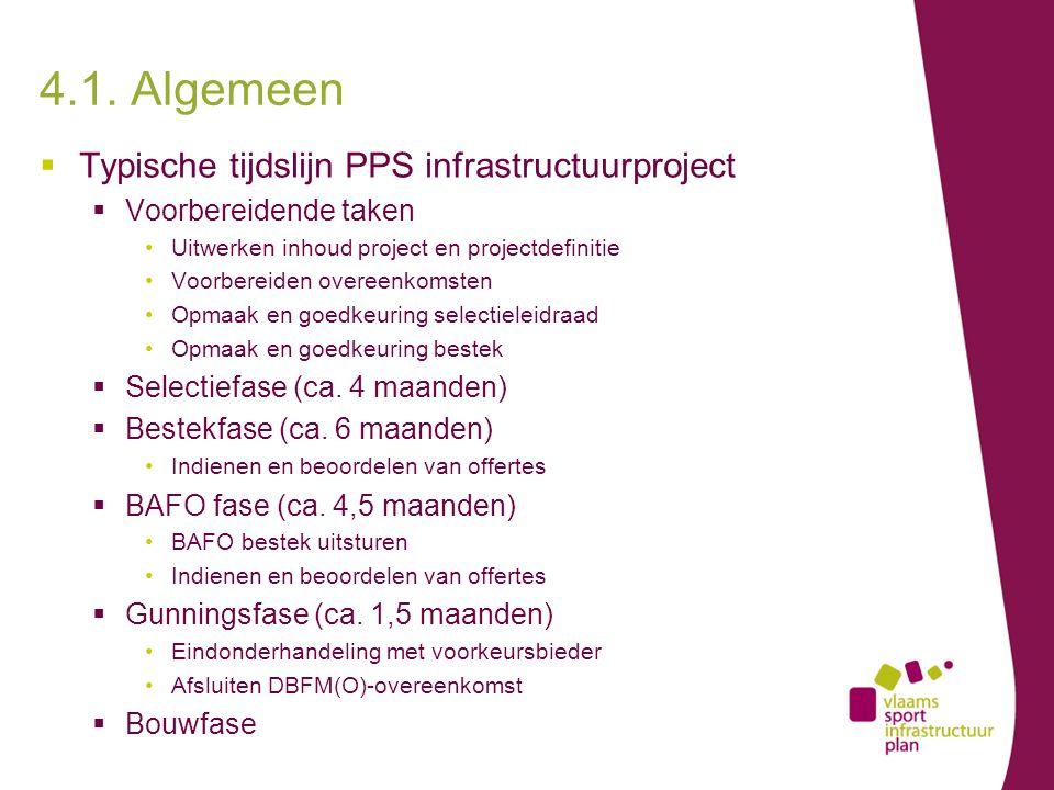 4.1. Algemeen  Typische tijdslijn PPS infrastructuurproject  Voorbereidende taken Uitwerken inhoud project en projectdefinitie Voorbereiden overeenk