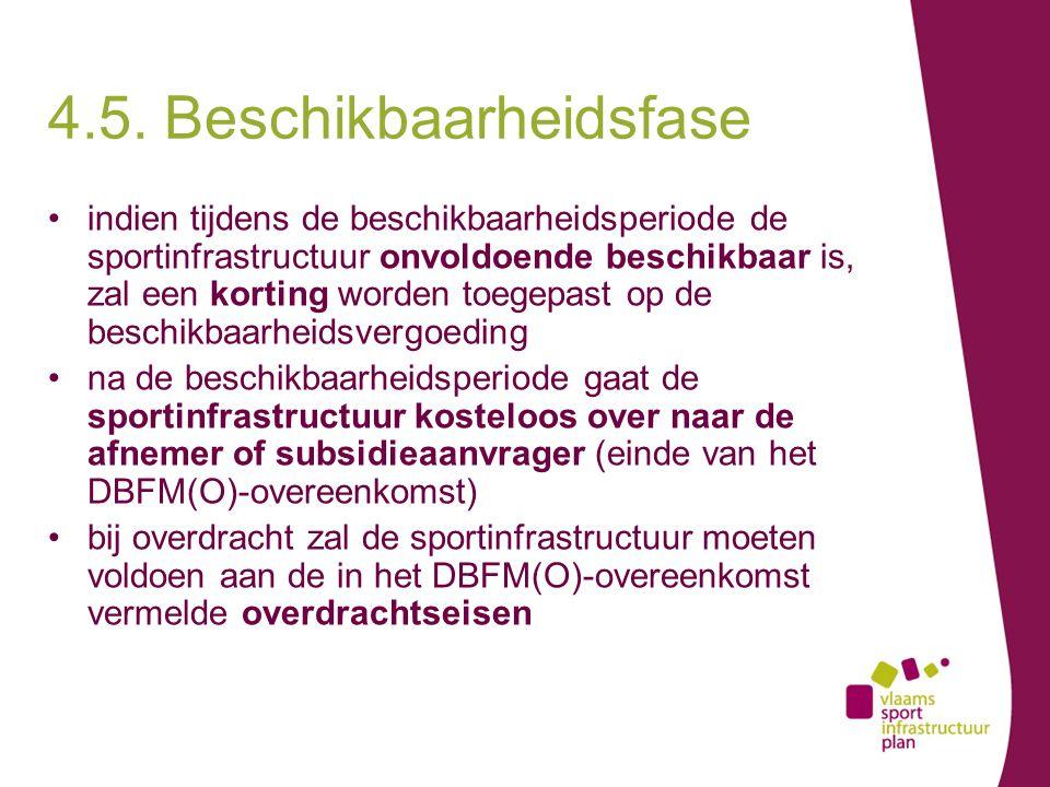 indien tijdens de beschikbaarheidsperiode de sportinfrastructuur onvoldoende beschikbaar is, zal een korting worden toegepast op de beschikbaarheidsvergoeding na de beschikbaarheidsperiode gaat de sportinfrastructuur kosteloos over naar de afnemer of subsidieaanvrager (einde van het DBFM(O)-overeenkomst) bij overdracht zal de sportinfrastructuur moeten voldoen aan de in het DBFM(O)-overeenkomst vermelde overdrachtseisen 4.5.