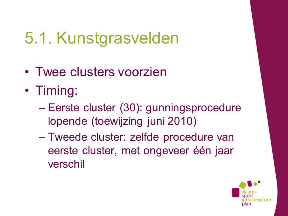 5.1. Kunstgrasvelden Twee clusters voorzien Timing: –Eerste cluster (30): gunningsprocedure lopende (toewijzing juni 2010) –Tweede cluster: zelfde pro