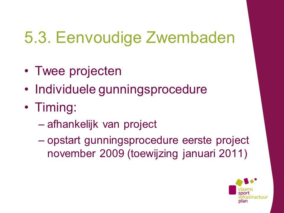 5.3. Eenvoudige Zwembaden Twee projecten Individuele gunningsprocedure Timing: –afhankelijk van project –opstart gunningsprocedure eerste project nove