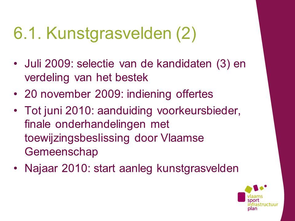 Juli 2009: selectie van de kandidaten (3) en verdeling van het bestek 20 november 2009: indiening offertes Tot juni 2010: aanduiding voorkeursbieder, finale onderhandelingen met toewijzingsbeslissing door Vlaamse Gemeenschap Najaar 2010: start aanleg kunstgrasvelden 6.1.