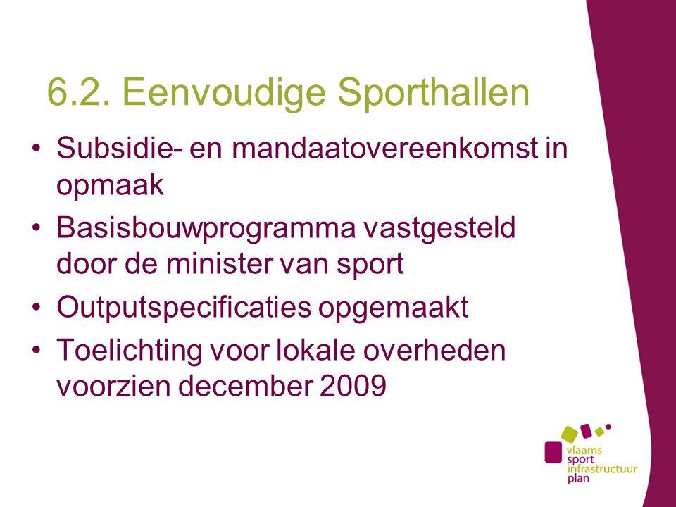 Subsidie- en mandaatovereenkomst in opmaak Basisbouwprogramma vastgesteld door de minister van sport Outputspecificaties opgemaakt Toelichting voor lokale overheden voorzien december 2009 6.2.