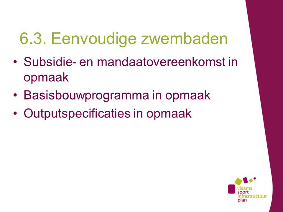 Subsidie- en mandaatovereenkomst in opmaak Basisbouwprogramma in opmaak Outputspecificaties in opmaak 6.3.