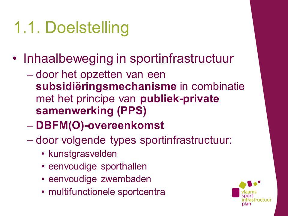1.1. Doelstelling Inhaalbeweging in sportinfrastructuur –door het opzetten van een subsidiëringsmechanisme in combinatie met het principe van publiek-