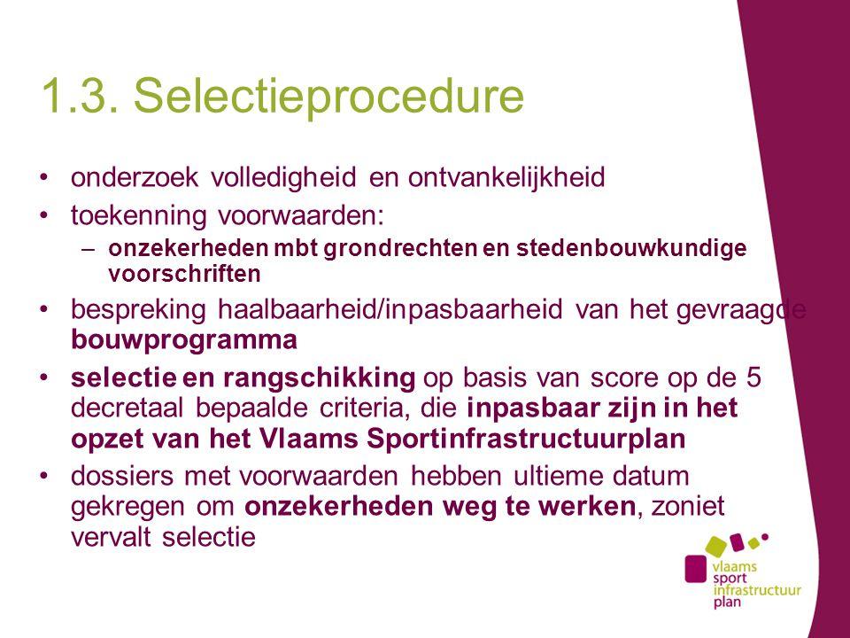 onderzoek volledigheid en ontvankelijkheid toekenning voorwaarden: –onzekerheden mbt grondrechten en stedenbouwkundige voorschriften bespreking haalbaarheid/inpasbaarheid van het gevraagde bouwprogramma selectie en rangschikking op basis van score op de 5 decretaal bepaalde criteria, die inpasbaar zijn in het opzet van het Vlaams Sportinfrastructuurplan dossiers met voorwaarden hebben ultieme datum gekregen om onzekerheden weg te werken, zoniet vervalt selectie 1.3.
