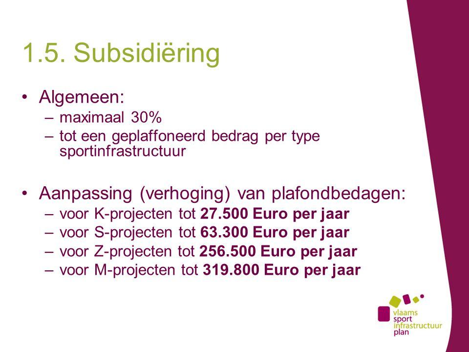 Algemeen: –maximaal 30% –tot een geplaffoneerd bedrag per type sportinfrastructuur Aanpassing (verhoging) van plafondbedagen: –voor K-projecten tot 27.500 Euro per jaar –voor S-projecten tot 63.300 Euro per jaar –voor Z-projecten tot 256.500 Euro per jaar –voor M-projecten tot 319.800 Euro per jaar 1.5.