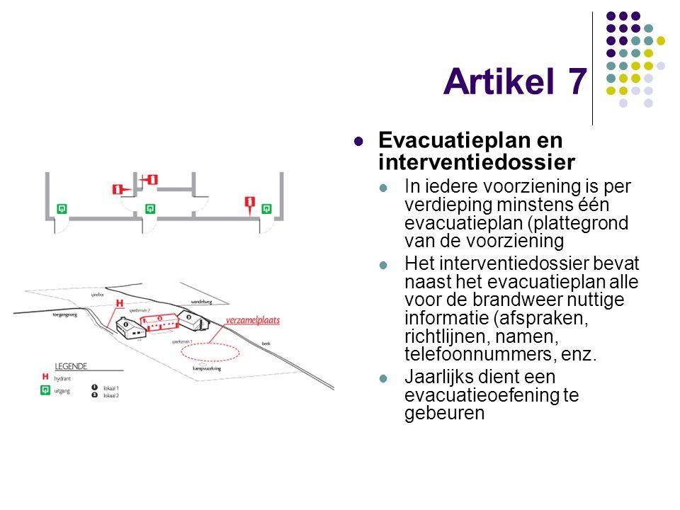Artikel 7 Evacuatieplan en interventiedossier In iedere voorziening is per verdieping minstens één evacuatieplan (plattegrond van de voorziening Het i