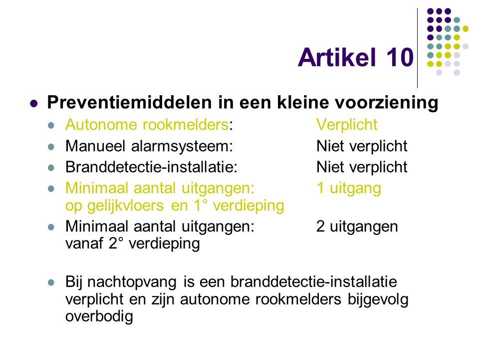Artikel 10 Preventiemiddelen in een kleine voorziening Autonome rookmelders:Verplicht Manueel alarmsysteem:Niet verplicht Branddetectie-installatie:Ni