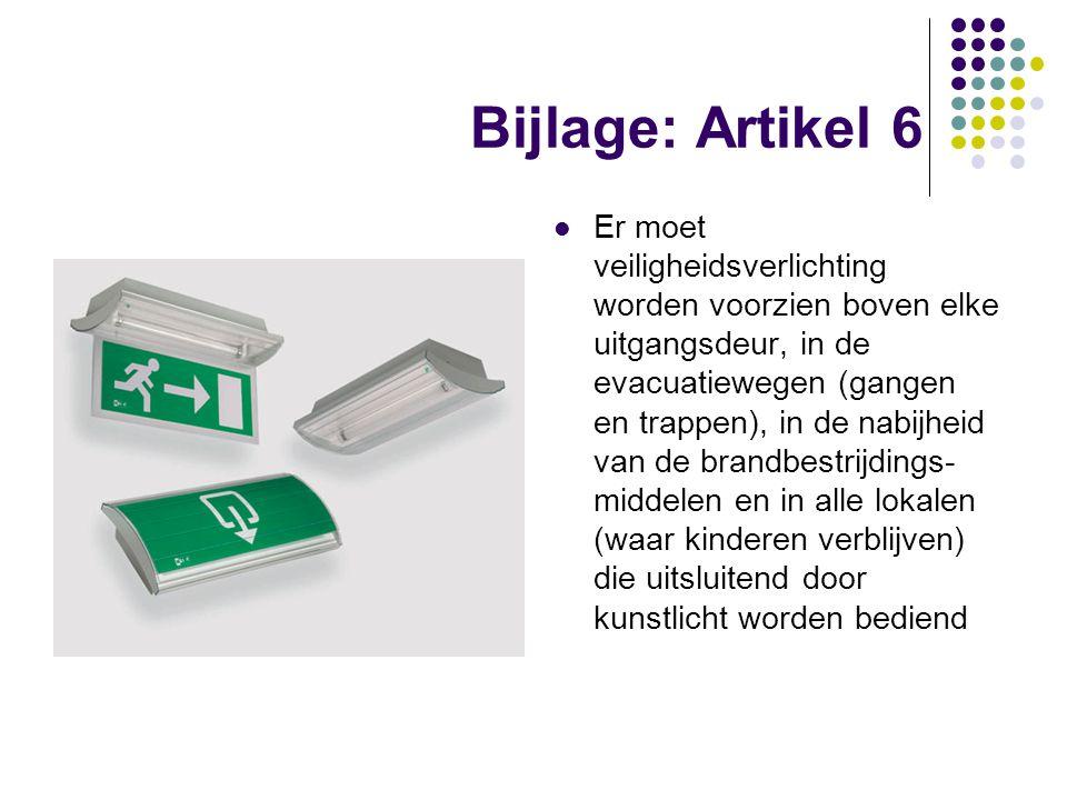 Bijlage: Artikel 6 Er moet veiligheidsverlichting worden voorzien boven elke uitgangsdeur, in de evacuatiewegen (gangen en trappen), in de nabijheid v