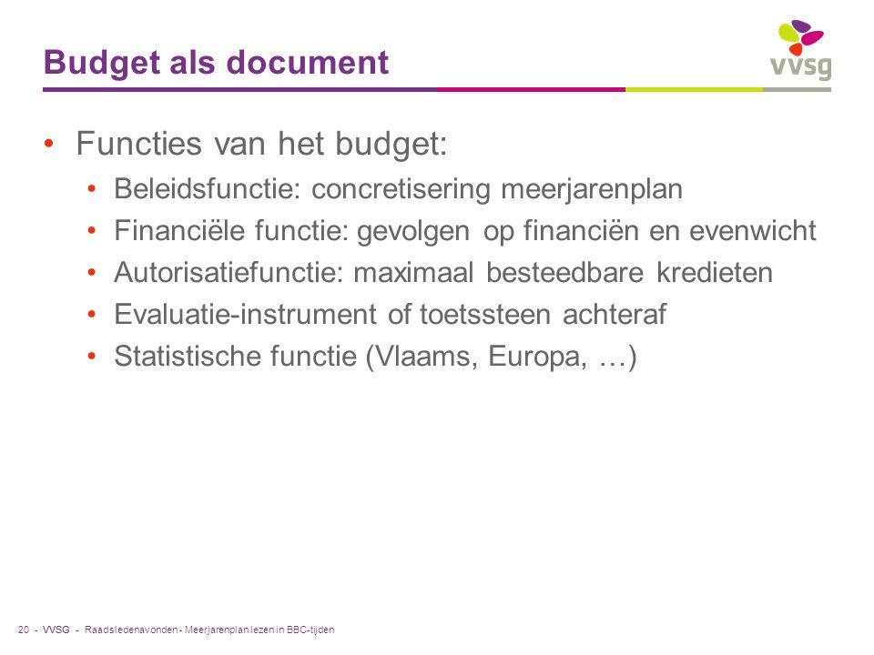 VVSG - Budget als document Functies van het budget: Beleidsfunctie: concretisering meerjarenplan Financiële functie: gevolgen op financiën en evenwicht Autorisatiefunctie: maximaal besteedbare kredieten Evaluatie-instrument of toetssteen achteraf Statistische functie (Vlaams, Europa, …) Raadsledenavonden - Meerjarenplan lezen in BBC-tijden20 -