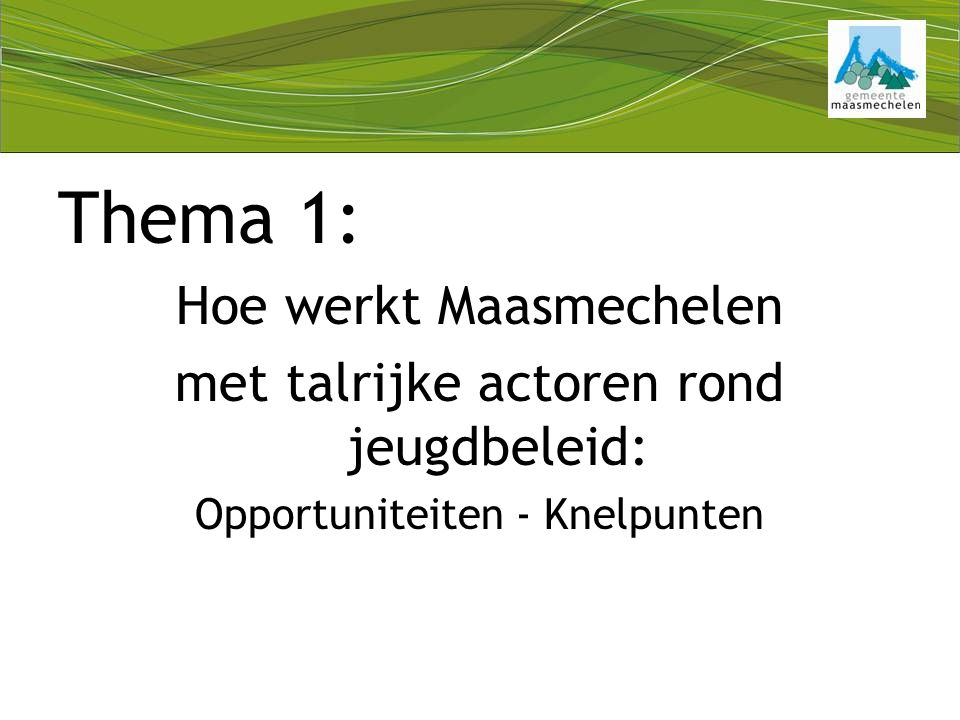 Thema 1: Hoe werkt Maasmechelen met talrijke actoren rond jeugdbeleid: Opportuniteiten - Knelpunten